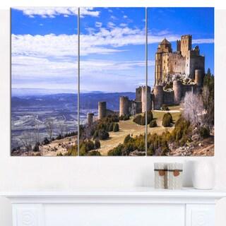 Designart 'Medieval Loarre Castle Panorama' Landscape Canvas Wall Artwork - 3 Panels 36x28