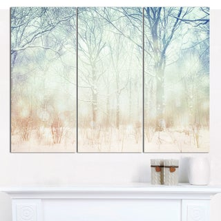 Designart 'Winter with Foggy Forest' Landscape Canvas Wall Artwork - 3 Panels 36x28