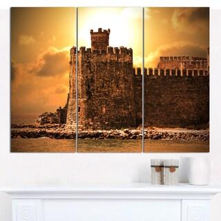 Designart 'Old Castle at Sunset' Landscape Canvas Wall Artwork - 3 Panels 36x28