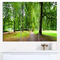 Designart 'Park in Autumn Panorama' Landscape Canvas Wall Artwork - 3 Panels 36x28 - Multi-color