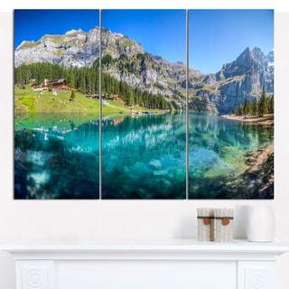 "Designart 'Lake Oeschinen Switzerland' Multipanel Landscape Canvas Art Print - 36""x28"" 3 Panels"