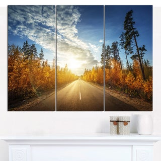 """Designart 'Road in Fall Forest Panorama' Multipanel Landscape Canvas Art Print - 36""""x28"""" 3 Panels"""