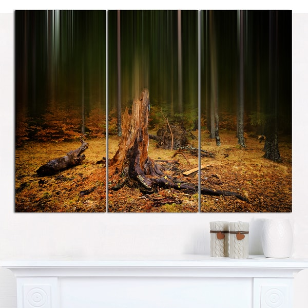 "Designart 'Dark Fall Forest on Foggy Morning' Multipanel Landscape Canvas Art Print - 36""x28"" 3 Panels"