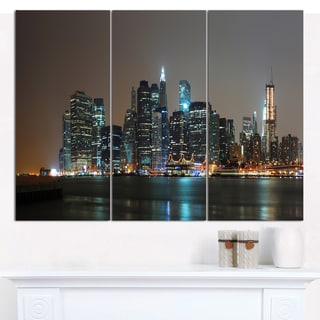"Designart 'Evening New York Panorama' Cityscape Canvas Wall Art - 36""x28"" 3 Panels"