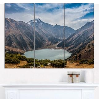 Designart 'Mountain Lake under Blue Sky' Multipanel Landscape Canvas Art Print - 3 Panels 36x28