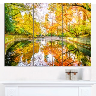 """Designart 'Bright Fall Forest with River' Multipanel Landscape Canvas Art Print - 36""""x28"""" 3 Panels"""