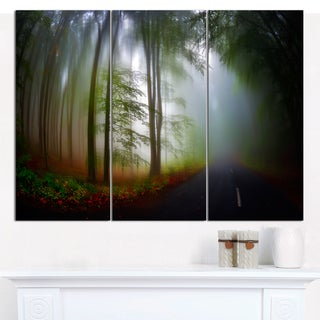 "Designart 'Fall Landscape in the Forest' Multipanel Landscape Canvas Art Print - 36""x28"" 3 Panels"