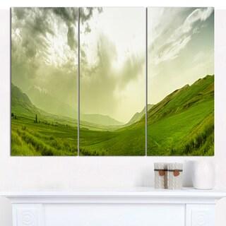 Designart 'Meadow under Clouds Panorama' Multipanel Landscape Canvas Art Print - 3 Panels 36x28