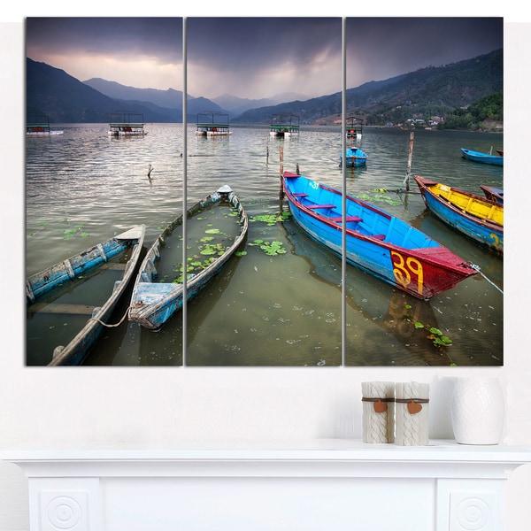 "Designart 'Boats near Pokhara Lake' Boat Canvas Wall Art - 36""x28"" 3 Panels - Multi-color"