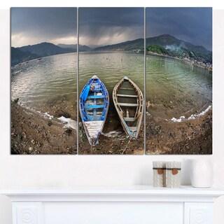 "Designart 'Two Boats near Pokhara Lake' Boat Canvas Wall Art - 36""x28"" 3 Panels"