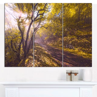 """Designart 'Bicycle Ride in Fall Forest' Multipanel Landscape Canvas Art Print - 36""""x28"""" 3 Panels"""