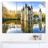 """Designart 'Fairytale Medieval Castles' Multipanel Landscape Canvas Art Print - 36""""x28"""" 3 Panels - Multi-color"""