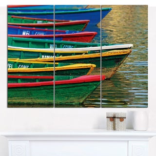 "Designart 'Color Boats on Phewa Lake Nepal' Boat Wall Artwork on Canvas - 36""x28"" 3 Panels"