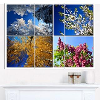 "Designart 'Four Seasons of Nature Collage' Multipanel Landscape Canvas Art Print - 36""x28"" 3 Panels"