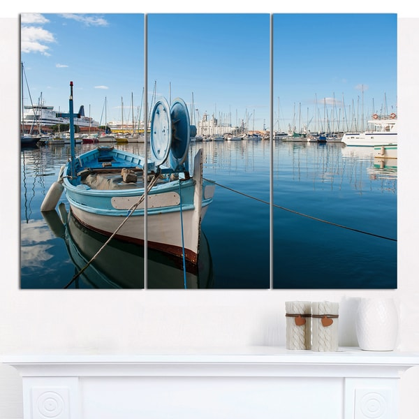 "Designart 'Yachts in Toulon Port, France' Boat Wall Artwork on Canvas - 36""x28"" 3 Panels"