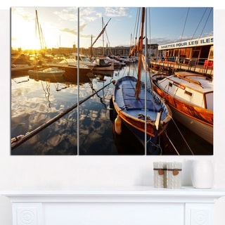 "Designart 'Yachts at Sea Port of Marseille' Boat Wall Artwork on Canvas - 36""x28"" 3 Panels"