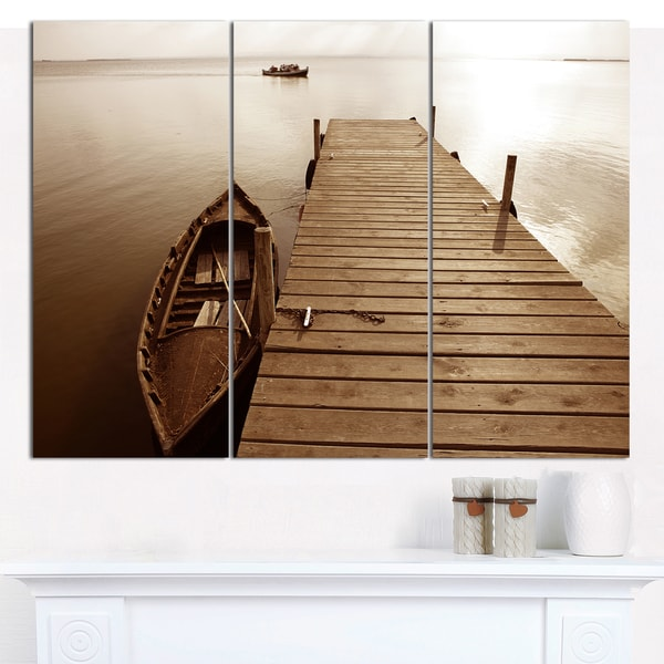 "Designart 'Albufera Lake Wetlands Pier' Boat Wall Artwork on Canvas - 36""x28"" 3 Panels"