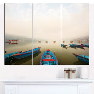 "Designart 'Moving Boats in Mountain Lake' Boat Canvas Artwork - 36""x28"" 3 Panels"