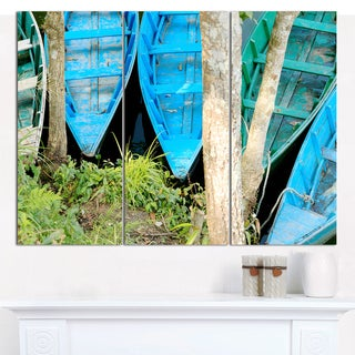 "Designart 'Blue Boats on Lake Phewa' Boat Canvas Artwork - 36""x28"" 3 Panels"