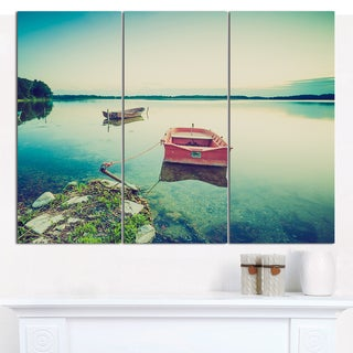 "Designart 'Beautiful Lake Vintage View' Boat Canvas Artwork - 36""x28"" 3 Panels"