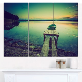 "Designart 'Pier and Boat in Vintage Lake' Boat Canvas Artwork - 36""x28"" 3 Panels"