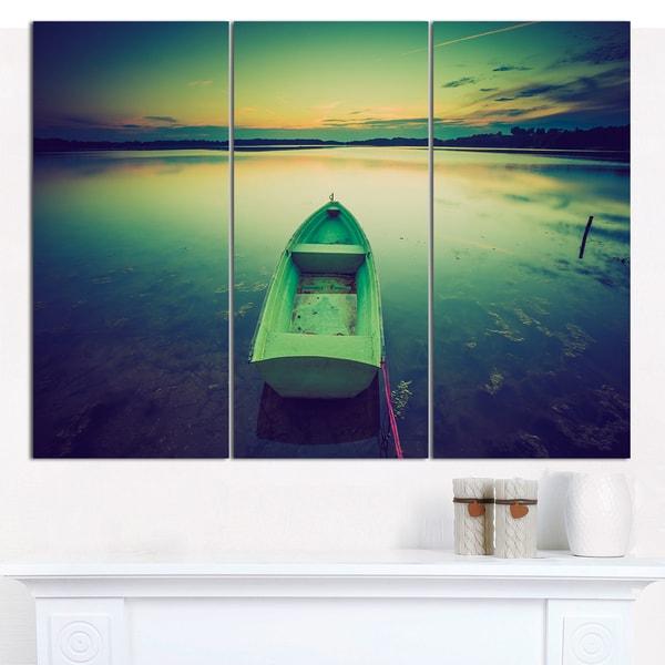 """Designart 'Boat at Sunset in Vintage Lake' Boat Canvas Artwork - 36""""x28"""" 3 Panels - Multi-color"""