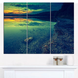 "Designart 'Dark Vintage Lake at Sunset' Boat Canvas Artwork - 36""x28"" 3 Panels"