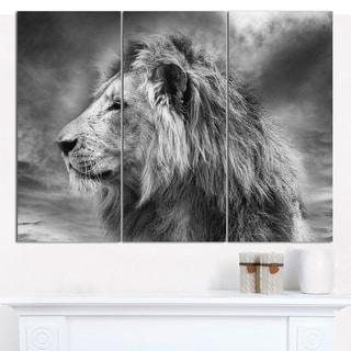 "Designart 'Grey Wild African Lion' Modern Animal Canvas Art - 36""x28"" 3 Panels"