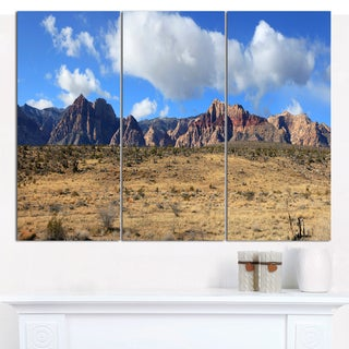 Designart 'Red Rock Canyon Landscape' Multipanel Landscape Canvas Art Print - 3 Panels 36x28