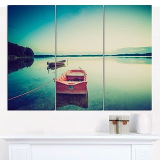 "Designart 'Pink Boat in Vintage Lake' Boat Canvas Artwork - 36""x28"" 3 Panels"