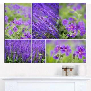 "Designart 'Blue Spring Flowers Collage' Modern Floral Canvas Art - 36""x28"" 3 Panels"