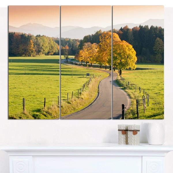 Shop Designart \'Winding Country Road in the Fall\' Multipanel ...