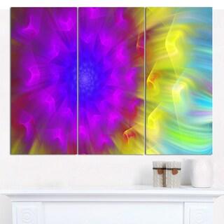 "Designart 'Purple Fractal Petals Dandelion' Floral Canvas Wall Artwork - 36""x28"" 3 Panels"