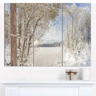 Designart 'Lake in Winter Woods' Multipanel Landscape Canvas Art Print - 3 Panels 36x28