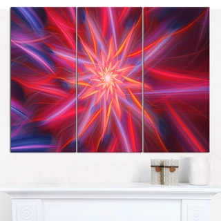 """Designart 'Shining Red Purple Exotic Flower' Floral Wall Art on Canvas - 36""""x28"""" 3 Panels"""