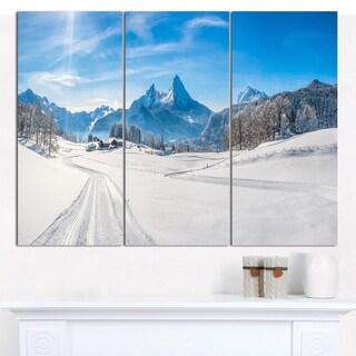 Designart 'Winter in Bavarian Alps Panorama' Multipanel Landscape Canvas Art Print - 3 Panels 36x28