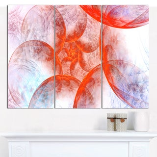 "Designart 'Large Red Fractal Circles' Floral Wall Art on Canvas - 36""x28"" 3 Panels"