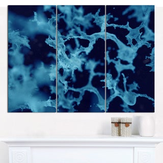 "Designart 'Cloudy Abstract Blue Texture' Multipanel Abstract Canvas Art Print - 36""x28"" 3 Panels"