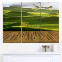 Designart 'Golf Course with Wooden Path' Multipanel Canvas Art Print - 3 Panels 36x28 - Multi-color