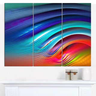 "Designart 'Beautiful Fractal Rainbow Waves' Modern Floral Artwork - 36""x28"" 3 Panels"
