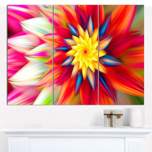 "Designart 'Amazing Dance of Red Petals' Modern Floral Artwork - 36""x28"" 3 Panels"