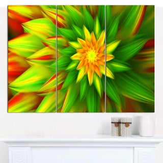 "Designart 'Amazing Dance of Green Petals' Modern Floral Artwork - 36""x28"" 3 Panels"