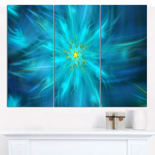 "Designart 'Amazing Dance of Blue Petals' Modern Floral Artwork - 36""x28"" 3 Panels"