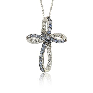 Suzy Levian Sterling Silver Blue & White Sapphire & Diamond Accent Cross Pendant