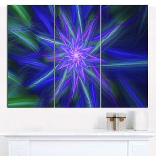 "Designart 'Shining Blue Exotic Fractal Flower' Modern Floral Artwork - 36""x28"" 3 Panels"