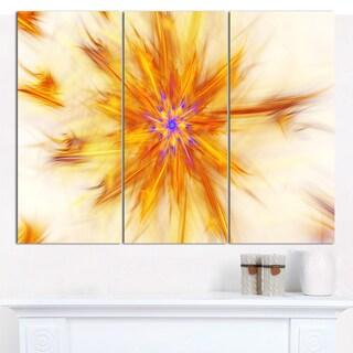 "Designart 'Shining Yellow Exotic Fractal Flower' Modern Floral Artwork - 36""x28"" 3 Panels"