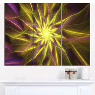 "Designart 'Shining Golden Exotic Fractal Flower' Modern Floral Artwork - 36""x28"" 3 Panels"