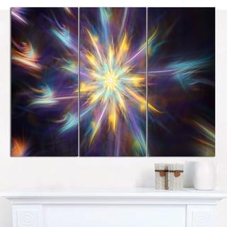 "Designart 'Shining Multi-Color Exotic Flower' Modern Floral Artwork - 36""x28"" 3 Panels"