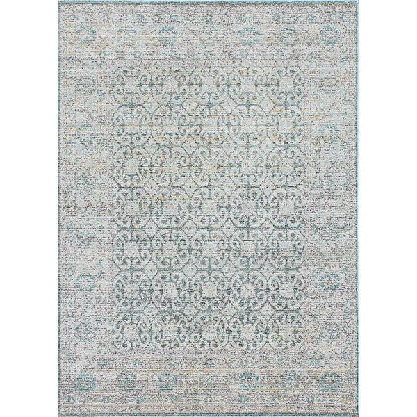eCarpetgallery Aqua Blue/Grey Silk Rug