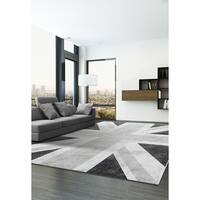 Ecarpetgallery Union Jack Grey Viscose and Polypropylene Rug